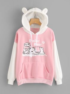 Polar Bear Print Kangaroo Pocket HoodieFor Women-romwe Source by marylujaimes clothing Girls Fashion Clothes, Teen Fashion Outfits, Cool Outfits, Casual Outfits, Harajuku Fashion, Kawaii Fashion, Cute Fashion, Fashion Styles, Trendy Hoodies