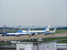 Air Force One and Air Force Two at Paris Orly.