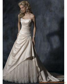 Neue elegantes Brautkleid aus Taft Scoopausschnitt verziertes Korsett und Rock mit Schleppe