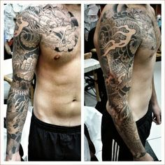#tattoo #Japanese #dragon #koi #black #grey #sleeve