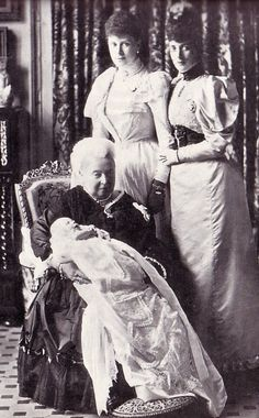 Four generations of royalty: Queen Victoria, her daughter-in-law Alexandra, the Princess of Wales, and grand-daughter-in-law, Princess Mary of York. On the Queen's lap is the infant Prince Edward of York, later Edward VIII.