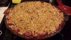 My husband literally ate the whole thing himself. Best strawberry rhubarb crisp EVER!
