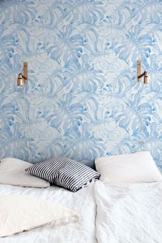 Baby Blue Monstera Leaves Self-Adhesive Wallpaper, Palm Leaves Wall Mural, Exotic Pattern, Nursery Wallpaper, Tropical Wall Decal, 274 by WallfloraShop on Etsy https://www.etsy.com/listing/468607285/baby-blue-monstera-leaves-self-adhesive