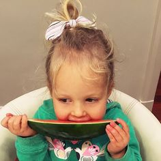 What a little cutie munching on her watermelon wearing our stripey ponytail bow. Thanks for the gorgeous pic @barefoot.birth