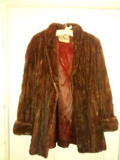 Vintage Mahogany Brown Mink Fur Medium Length Swing Coat Jacket Size 12-14 - http://www.minkfur.net/vintage-mahogany-brown-mink-fur-medium-length-swing-coat-jacket-size-12-14.html