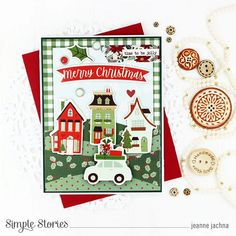 Spreadin' Good Cheer! by Jeanne Jachna – Simple Stories Christmas Greeting Cards Making, Homemade Christmas Cards, Christmas Greetings, Holiday Cards, Very Merry Christmas, Christmas Time, Good Cheer, Jingle All The Way, Simple Stories