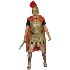 #Disfraz #Soldado #Romano  Incluye: Falda y pechera de latex labrado en oro envejecido, con cintas para sujección. Tunica de punto con ribete de lame oro. Capa de raso rojo con broche metalico en oro.