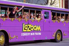 the crazy LaZoom purple bus tour in downtown Asheville. it's a hoot!