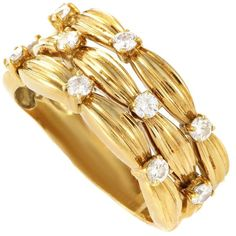 Preowned Tiffany & Co. Yellow Gold Diamond Band Ring ($1,900) ❤ liked on Polyvore featuring jewelry, rings, multiple, 18 karat gold jewelry, diamond band ring, yellow gold diamond ring, 18k ring and band rings
