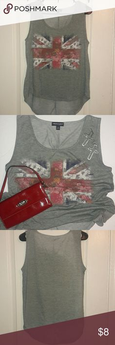 Grey tank top This London Flag tank top with roses in middle is so cute to be worn with shorts and just a get dressed quick outfit. In good condition. about a girl Los Angeles Tops Tank Tops