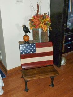 Old Patriotic School Desk.     For front of house on faux porch