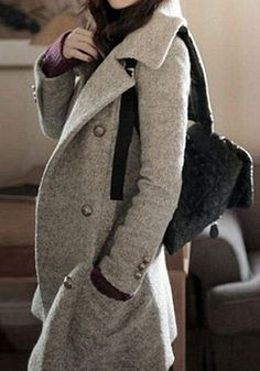 Grey Plain Pockets Long Sleeve Fashion Cotton Wool Coat - Outerwears - Tops