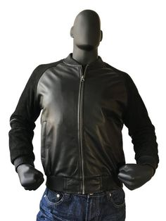Leather Varsity Bomber Baseball Jacket With Suede Sleeves Style MENS Spring Jackets, Winter Jackets, Female Fox, New Mens Fashion, Capes For Women, Men's Coats And Jackets, Men's Collection, Real Leather, Sleeve Styles