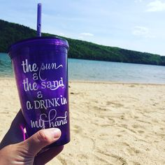 Sun and the Sand and a Drink in My Hand Personalized Tumbler Great for... ($10) ❤ liked on Polyvore featuring home, kitchen & dining, drinkware, aqua, drink & barware, home & living, tumblers & water glasses, water tumbler, acrylic drinkware and personalized water tumbler