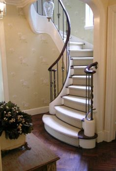 Curved Stair traditional. Entry foyer and stairs. French English country traditional