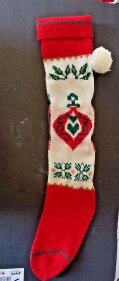 Details about JOY Christmas Stocking -100  Wool - Hand Knit - Can