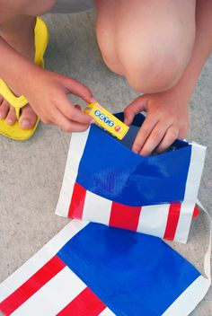 DIY: Red, White and Blue Duct Tape Bags | willowday