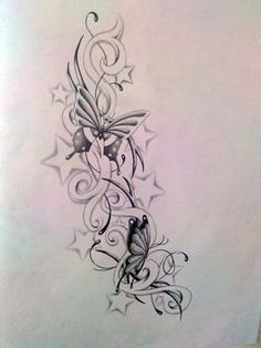 butterfly with stars tattoo designs | Butterfly and star's by Ashtonbkeje