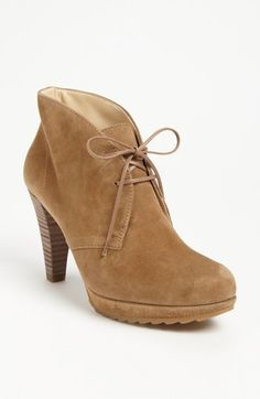 $330, Tan Suede Lace-up Ankle Boots: Paul Green New York Bootie Havana Suede 95 M. Sold by Nordstrom. Click for more info: https://lookastic.com/women/shop_items/99118/redirect