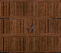 "Amarr Garage Doors      Door Design: Cortona     Windows: Closed Square     Color: Walnut ‡     Construction*: Classica CL1000     Decorative Hardware: Canterbury 10.5"" Handles and Canterbury 17"" Hinge"