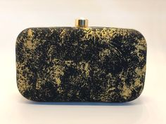 Your place to buy and sell all things handmade Black Gold Jewelry, Black Clutch, Gold Print, Gold Cross, Rectangle Shape, Silk Fabric, Cross Body, Printing On Fabric, Chain