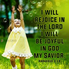 I will rejoice in the Lord I will be joyful in God my savior. - Habakkuk 3:18