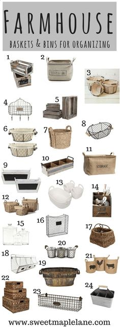 The ultimate farmhouse bins and baskets roundup! Great for organizing and adding some farmhouse style to your home!