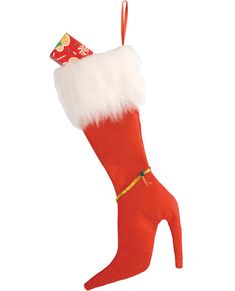 "Christmas Stocking Sexy Red High Heel 19"" White Faux Fur Red Felt & Gold Sequins #Forum"