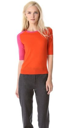 Carven Colorblock Sweater in pink/orange, $295 on ShopBop