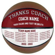 Burgundy White All Player's Basketball for Coach - tap, personalize, buy right now!  #thank #you #players #names #coach