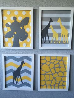 Giraffe Nursery Art Yellow Grey Gray Framed Set of 4 handmade baby girl art modern nursery art set chevron striped polka dots Giraffe Room, Giraffe Decor, Baby Shower Giraffe, Baby Giraffes, Baby Giraffe Nursery, Baby Shower Chevron, Nursery Art, Girl Nursery, Nursery Frames