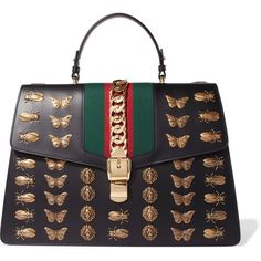 Gucci Sylvie large chain-embellished leather tote (86.548.845 IDR) ❤ liked on Polyvore featuring bags, handbags, tote bags, black, striped tote bags, gucci handbags, leather handbag tote, genuine leather tote and leather tote handbags