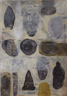 Archeology, Milk paint and beeswax on paper. Mark Goodwin