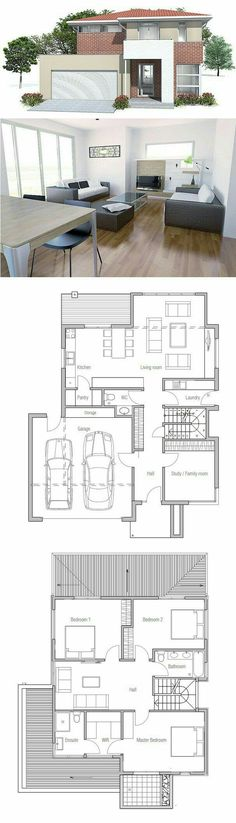 Modern House Plan with nice exterior facade. Modern House Plan to Modern Family. Layouts Casa, House Layouts, Future House, My House, House Bath, Small House Plans, Double Storey House Plans, Modern House Floor Plans, Architecture Plan