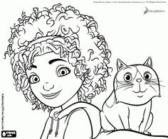 The Girl With Her Cat Tip And Pig Coloring Page Printable Game