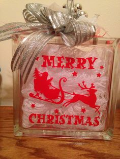 Merry Christmas glass block with lights $25