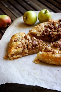 Rustic Apple Crumble Tart  6 c thinly sliced peeled apples  ¾ cup sugar 1 tbsp cornstarch ½ tsp ground cinnamon ¼ tsp ground nutmeg  *Crumble Topping*  ¼ c flour ¼ c oats ¼ c brown sugar ½ tsp cinnamon pinch salt ¼ c chopped pecans 2.5 tbsp unsalted butter, melted  *Pastry Dough*  1⅓ c all-purpose flour 3 tbsp sugar ¼ tsp salt 7 tbsp cold butter, cut up 3-6 tbsp ice cold water *To Finish* egg wash (1 egg white + 1 teaspoon water, whisked together)  ***courtesy of: kitchensimplicity.com