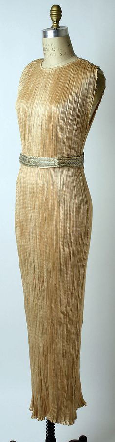 Fashion, Mariano Fortuny, Dress, Design House: Fortuny (Italian, founded 1906), date:  ca. 1936,  silk  Dimensions:  Length (a): 55 in. (139.7 cm) Width (b): 1 1/2 in. (3.8 cm)
