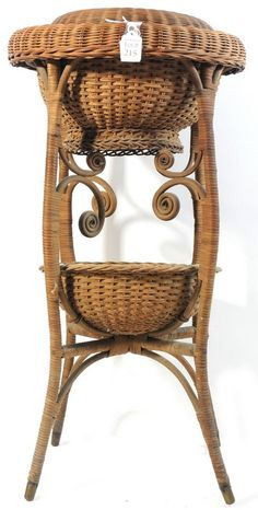 Standing wicker sewing basket with cover - this would be a pretty plant stand with ferns
