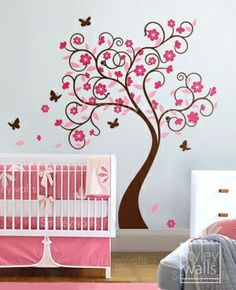 Baby girls room with Japanese cherry blossom tree painting