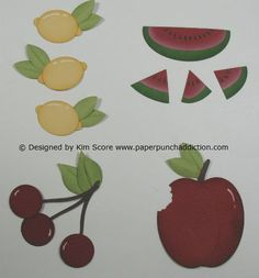 """By kim Score at """"Paper Punch Addiction"""": Fruity #PunchArt at her blog full instructions on how to for these fruits...for stamping cards visit me at My Personal blog: http://stampingwithbibiana.blogspot.com/"""
