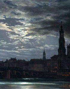Nocturne, Dresden, Landscape Art, Landscape Paintings, Landscapes, Johan Christian Dahl, Moonlight Painting, Beauty In Art, Ciel