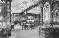 First-class gentleman's smoking room on the RMS Olympic, sister ship to the Titanic, photographed in 1911 by Robert John Welch