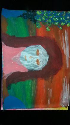 Žena s růžovými vlasy.