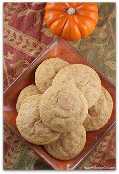Pumpkin Snickerdoodles recipe - from RecipeGirl.com : for your Halloween party!