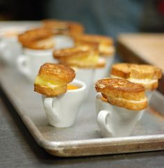 "Mini grilles cheese and soup! I reeeeally want to find a caterer that will do mini ""southern comfort"" kind of hors d'oeuvres at my cocktail hour! (mini chicken pot pies, etc.)"