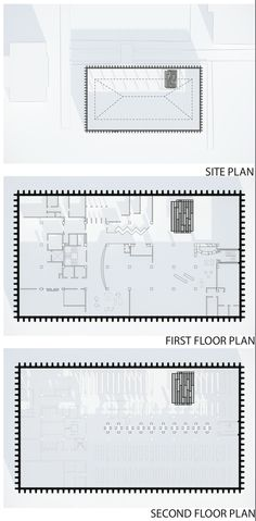 Hunt Library Addition: Site Plan, First Floor Plan, and Second Floor Plan Iterations #kerrianfrance #48105-S15