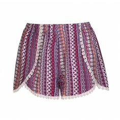 Ally Fashion Boho stripe wrap front short with trim ($19) ❤ liked on Polyvore featuring shorts, print, short shorts, elastic waistband shorts, boho shorts, print shorts and elastic waist shorts