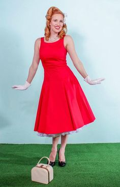 Judy in Red Bridesmaid Swing Dress