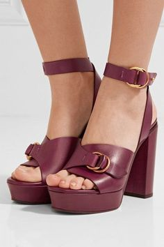 Heel measures approximately 120mm/ 5 inches with a 30mm/ 1 inch platform Burgundy leather Buckle-fastening ankle strap Designer color: Purple Red Made in Italy